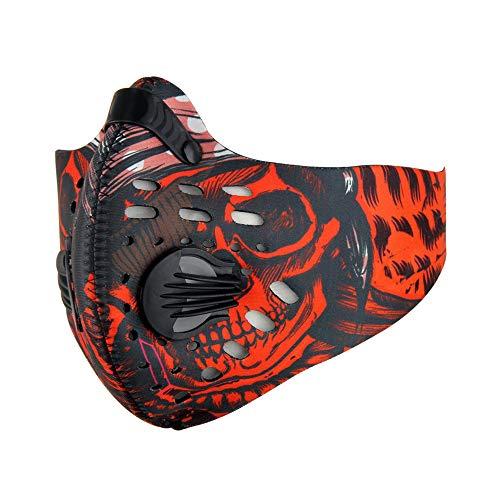 Mettime Atemschutzmaske,Umweltfreundliche Sportmaske Aktivkohlefilter für maximale Filtration Verstellbarer Riemen und Nasenklemme für Rennsport Skilaufen Outdoor-Sport-Buntes Rot