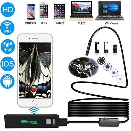Fotocamera Endoscopio Wireless WiFi, Cavo semirigido 1200P e 2.0 Megapixel HD Telecamera di ispezione per periscopio impermeabile con 8 LED regolabili 10 Metri,per Android IOS Smartphone,Wnidows,P