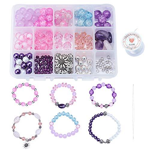 SUNNYCLUE 1set 242PCS kit per la creazione di gioielli braccialetto pietra semipreziosa giada ametista naturale, quarzo rosa perline perle di vetro crackle per fai da te fatti a mano bracciale