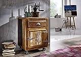 Legno massello Ferro Mobili in legno massello laccato Contenitore a rotelle Legno antico ferro massiccio mobili stile industriale Freezy #43