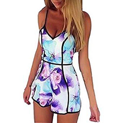 Internet Damen Kleid Lace Druck mit V-Ausschnitt Riemchen Jumpsuit (L, lila)