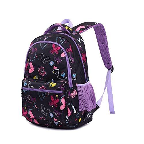Termichy Mode Kinder Teenager Mädchen Schulrucksack Leichte Schule Tasche Blumen Floral Studenten Rucksack Lässig Daypack Reise Backpack für Schüler Outdoor Freizeit-Lila - 2