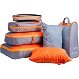 LANGRIA Set di 7 Organizzatori di Viaggio Imballaggio Cubi di Lavanderia Sacchetto per Valigia da Viaggio e Zaino Lavabili (Arrancione, 7 Borse)
