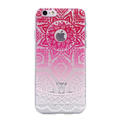 Qiaogle Téléphone Coque - Soft TPU Silicone Housse Coque Etui Case Cover pour Apple iPhone 7 (4.7 Pouce) - DD05 / Mandala Leaves Fleur DD16 / Rose Totem