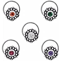 Shine Jewel 925 silver round multi cubic zirconia pure indian style nose pin