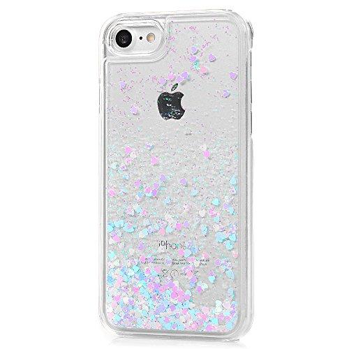 MAXFE.CO Coque iPhone 8 / iPhone 7 Etui Transparent Housse Rigide Hard PC Antichoc Case Cover Protection Cuir Accessoire Coques pour iPhone 8 / iPhone 7 (4.7 pouces) - Poudre Brillante Bling Sable Mou Violet Clair