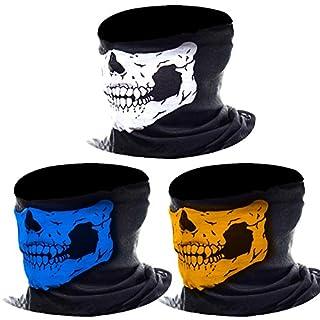 3 Stück Nahtlos Schädel Gesicht Schlauch Maske Motorrad Gesichtsmaske (Mehrfarbig-A)