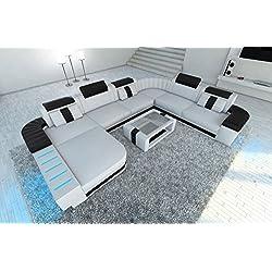 Diseño Conjunto de Muebles Para Salón BELLAGIO XXL con iluminación Led Blanco - Negro