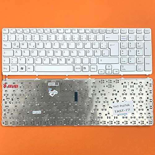 DE Weiß Tastatur mit Silber Rahmen ohne Beleuchtung Ver.2 für Sony Vaio SVE-17 - Sony Weiß Laptop Vaio