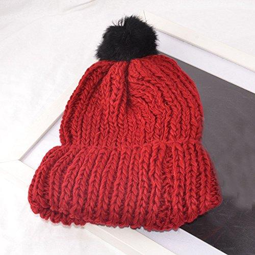 Vovotrade ✿ ✿ Mode Chapeaux d'hiver pour Femmes Chaude Tricoté Beanie Chapeaux Tricoté Laine Chapeau Hemming Rouge