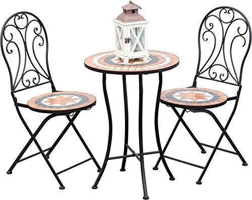 Mosaik Gartentisch Set 1 Tisch Rund 2 Stuhle