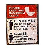 LB H&F 1 x Blechschild Nostalgie Toilette WC (Damen + Herren) Rot Weiss WC_Schild Please