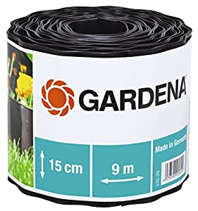 GARDENA 532-20 Beeteinfassung, braun, Rolle 15 cm hoch, 9 m lang