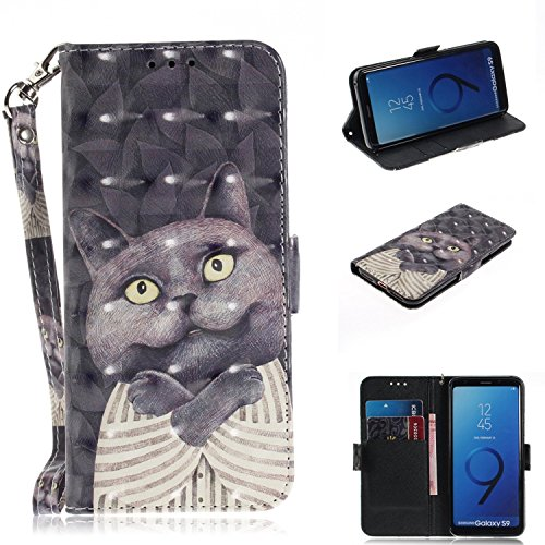 axy S9 Hülle, Flip PU Leder Tasche mit Intern Karte Schlitz, Magnetic Closure mit Standfunktion und Handy Gürtel Schutzhülle für Samsung Galaxy S9 - Dr. Katze ()
