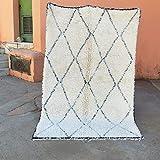 Beni Ouarain Tapis (Beni Ourain) : Tapis marocains Beni Ouarain Style berbères Main Commerce équitable de Toutes Les Tailles Laine | 2.40 x 1.60 m