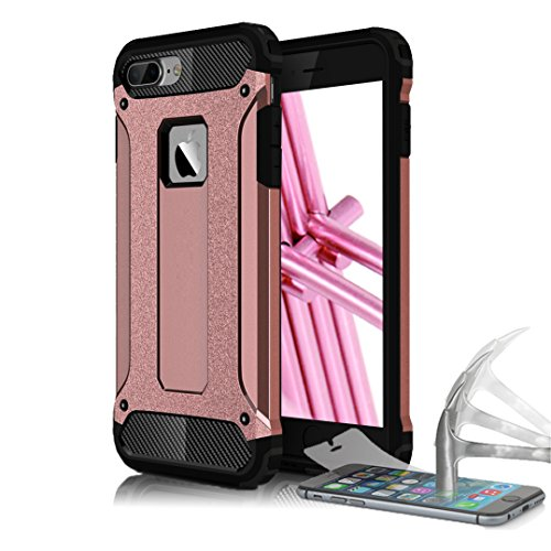 Schutz Hülle Case für Apple iPhone 5 5s SE Full Cover Case | 9H PANZERGLAS INKL. | Schwarz Armor Hybrid Outdoor Rugged Impact Panzerfolie Hartglas Rosa
