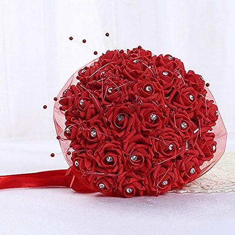 Qianle Bouquet de Mariée Roses Fleurs Artificielles pour Mariage 1PC Rouge