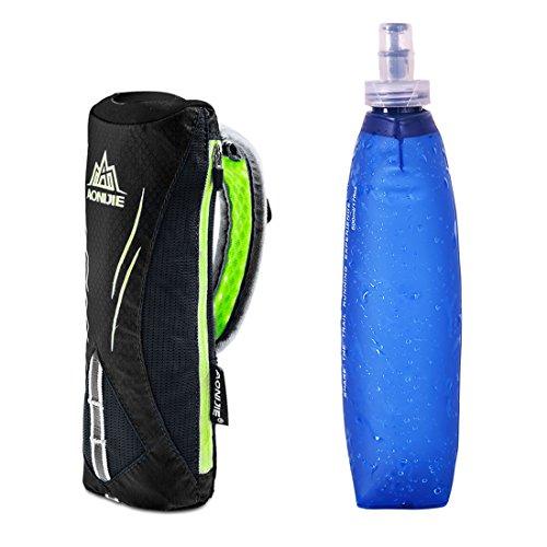 AONIJIE Männer/Frauen Sport Quick Grip Chill Handheld Water Bottle Trinkflasche Trinkrucksack mit 500ML Trinkflasche Schwarz
