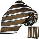 Paul Malone Krawatten Set 100% Seidenkrawatte braun blau + Einstecktuch
