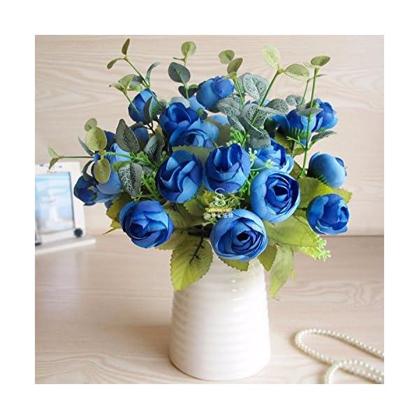 XCZHJ Flores Decorativas Artificiales Jarrón Cerámica Artificial Camelia Azul Estilo Rural Los Productos de Flores…