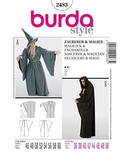 Burda 2483 Schnittmuster Kostüm Fasching Karneval Zauberer Magier (Herren, Gr. 46-60) – Level 2 leicht