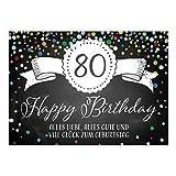 Große XXL Design Glückwunsch-Karte zum 80. Geburtstag mit Umschlag/DIN A4/Tafel-Look Konfetti/Grußkarte/Geburtstagskarte/Happy Birthday