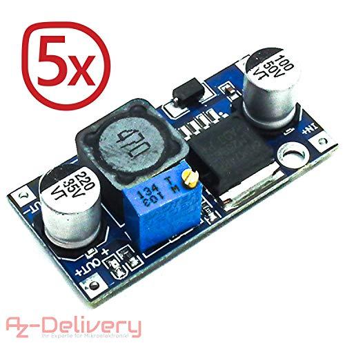 AZDelivery ⭐⭐⭐⭐⭐ 5 x LM2596S DC-DC Netzteil Adapter Step down Modul für Arduino mit gratis eBook!
