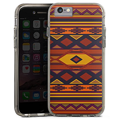Apple iPhone 6 Bumper Hülle Bumper Case Glitzer Hülle Ethno Indien Indianer Bumper Case transparent grau