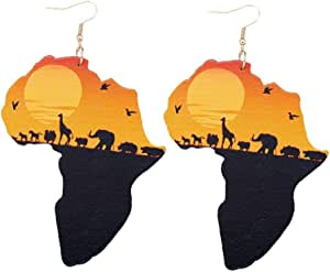 1 paio Mappa africano pendente degli orecchini naturale africano originale motivo verniciato Stud Orecchio di legno Eco animali