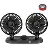 12V Electric Car Fan Auto Cooling Fan Low Noise 360 Degree Rotating Dual Head Car Fans Adjustable Two Speed Summer…