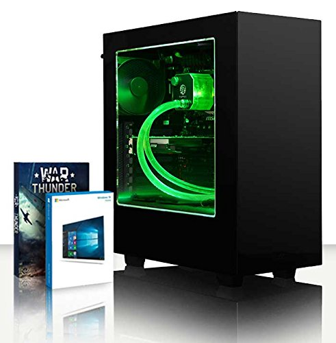 VIBOX Centre 4.179 PC Gamer - 4,2GHz CPU AMD FX 4-Core, GPU GTX 1050, Avancée, Ordinateur PC de Bureau Gaming avec Watercooling paquet de jeux, unité centrale, Windows 10, Éclairage Interne Vert (4,2GHz Overclocké Processeur CPU Quad Core AMD FX 4300 Ultra Rapide, Carte Graphique Avancée Nvidia GeForce GTX 1050 2 Go, 32 Go RAM Team Elite 1600MHz DDR3, SSD 120 Go, Disque Dur 3 To, Refroidissement Liquide Raijintek Triton, PSU 400W 85+, Boîtier NZXT)