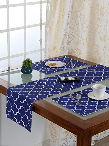Handcrafted Persian Sapphire Placemats & Runner Set (Set of 7)   100%...