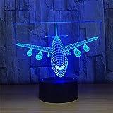 Regalo Para Los Niños Control Remoto Boeing Air Plane Lámpara 3D LED Lámpara De Mesa Ilusión Óptica Aviones Noche Luz 7 Colores Cambiando La Lámpara USB