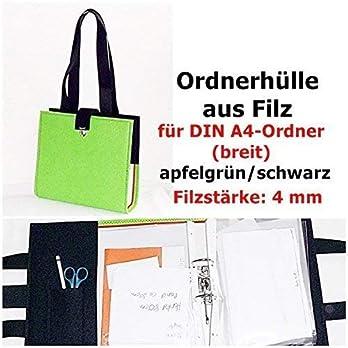 OrdnerTasche aus Filz apfelgrün/schwarz mit Ordner DIN A4 breit