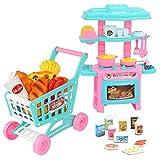 elegantstunning Kids Pretend Toy Set da Forno Mini Simulazione stoviglie Carrello Set Pretend Play Cucina Food Toys