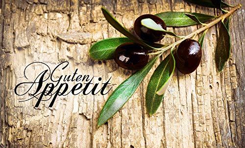 Artland Design Spritzschutz Küche I Alu Küchenrückwand Herd BxH: 100x60 cm sehr schnelle und einfache Montage Oliven vor einem Holzhintergrund - Guten Appetit