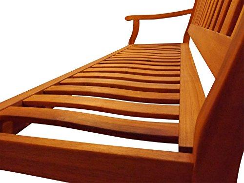 SAM® Akazie-Sitzbank New Jersey, massive Gartenbank für bis zu 3 Personen, Holzbank mit Armlehnen ideal für Garten Terrasse Balkon und Wintergarten, FSC® 100% zertifiziert - 4