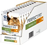 Perfect Fit Katzenfutter Nassfutter Senior 7+ mit Truthahn & Karotten in Sauce, 12 Portionsbeutel (12 x 85g)