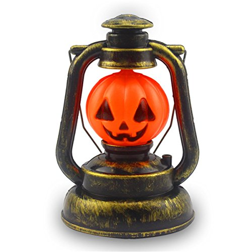 JiuRui LED Light & Lamp Portable Nachtlicht Ghosty Gelächter Licht enthält keine Batterien, 3W Halloween Deco Prop Kürbis Hexe Laterne Hand Totenkopf Lampe (Color : Orang)