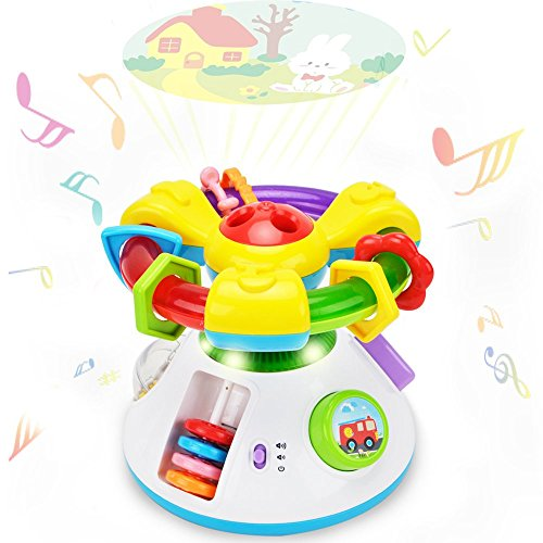 WISHTIME Baby Projection Lullaby Musical Toy Baby Music 2 in 1 Projection Cartoon Projector Night Light with Soothing Nature Music, Classic Lullabies, Best Gift for Kids
