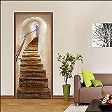 Sticker De Porte Trompe l'oeil Effet 3D Intérieure Papier Peint Peintures Imperméable Amovible Autocollants Escaliers 90 * 200Cm