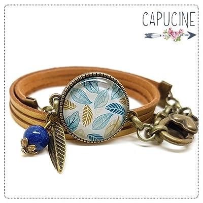 Bracelet feuilles doré avec cabochon verre - Bracelet breloques bronze - Bracelet multi-rangs - Bracelet Fleurs en Filigrane