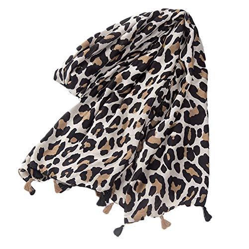 Femenino De La Impresión Del Leopardo De La Bufanda De Pashmina Mantón Largo Pañuelos Infinity Largos Abrigos De La Bufanda (Blanco)