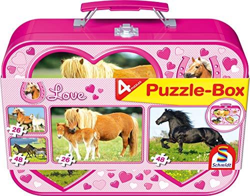 Schmidt Spiele 55588 Pferde, Puzzle-Box im Metallkoffer, 2x26 und 2x48 Teile Kinderpuzzle, bunt (Puzzle-box Geschenk)