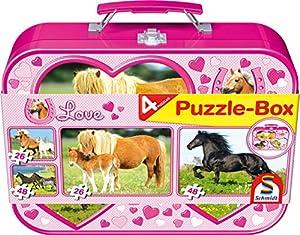 Schmidt Spiele 55588  - Caballos, Puzzle-Box 2 x 26 2 x 48 Piezas en una Caja metálica