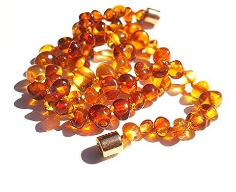 Collier Ambre 35cm. - 100% Plus Haute Qualite Certifie l'Ambre la Baltique Authentique Collier Perles. Fermoir magnétique sécurisé. Amberta®