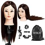 xnicx 85% Cheveux Brun Long Naturel Tête À Coiffer Coiffure Femme Mannequin+Titulaire