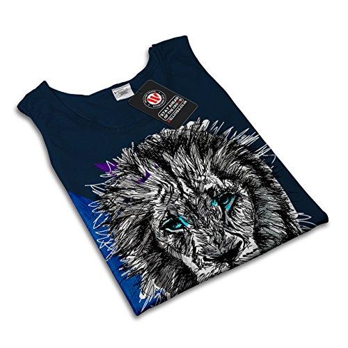 Löwe Tier Natur Tier Majestätisch Blau Damen S-2XL Muskelshirt | Wellcoda Marine