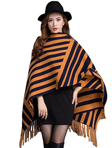 MatchLife Damen Knitted Wrap Shawl Wolle Open Cape Mantel Art1