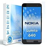 EAZY CASE 2X Panzerglas Displayschutz 9H Härte für Nokia Lumia 640 Dual SIM, nur 0,3 mm dick I Schutzglas aus gehärteter 2,5D Panzerglasfolie, Displayschutzglas, Transparent/Kristallklar